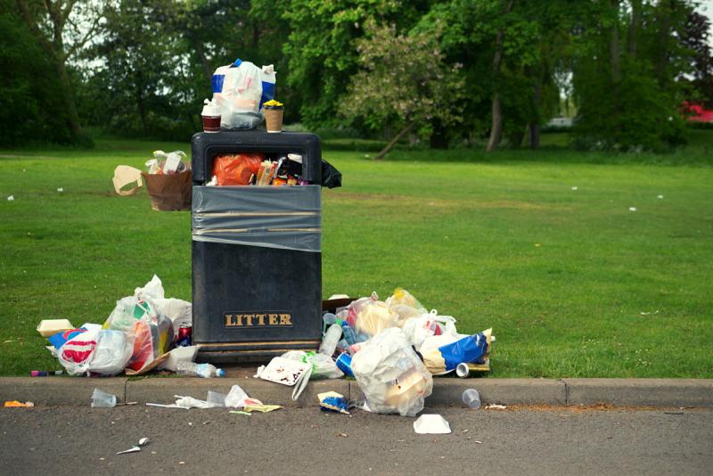 bin overflowing